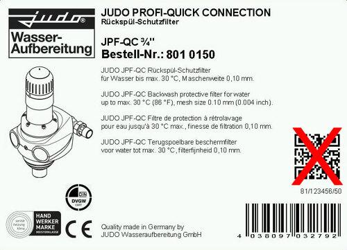 Karton Etikett auf den Verpackungen der JUDO Produkte